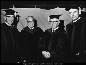 l to r: N. Eldon Tanner, Harold B. Lee, Joseph Fielding Smith, and Dallin H. Oaks, 1971, at President Oaks' inaugural